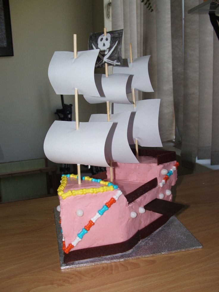 J's 1st Birthday cake - a pirate ship! Gluten and Dairy Free Banana cake with Raspberry-lemon icing. Decorated with GF jelly beans, GF Fruit strips and Candy bones. Kudos to my brother for drawing the pirate flag, and my mum for making the sails.