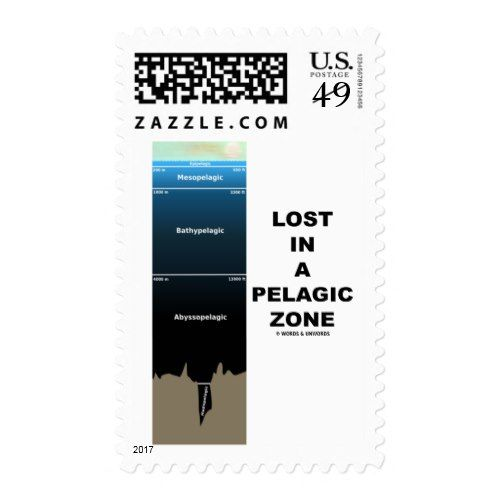 Lost In A Pelagic Zone (Oceanography Humor) Postage
