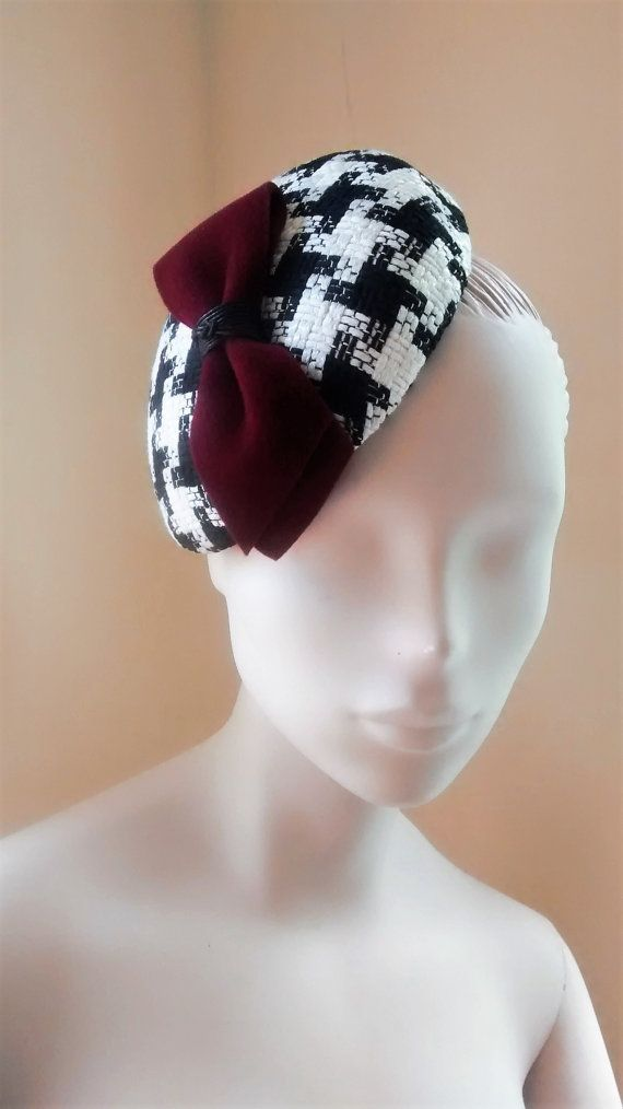 Cocktail Hat Fascinator Black and White Houndstooth Check Wine
