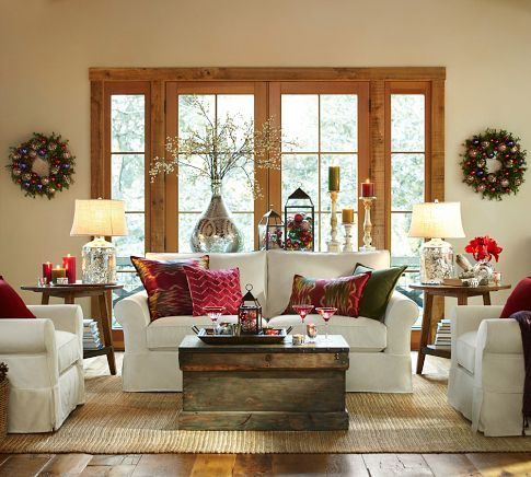 Such a beautiful living room! Love that it's ready for Christmas!  Pillow Covers 20x20 & Square Pillow Covers | Pottery Barn