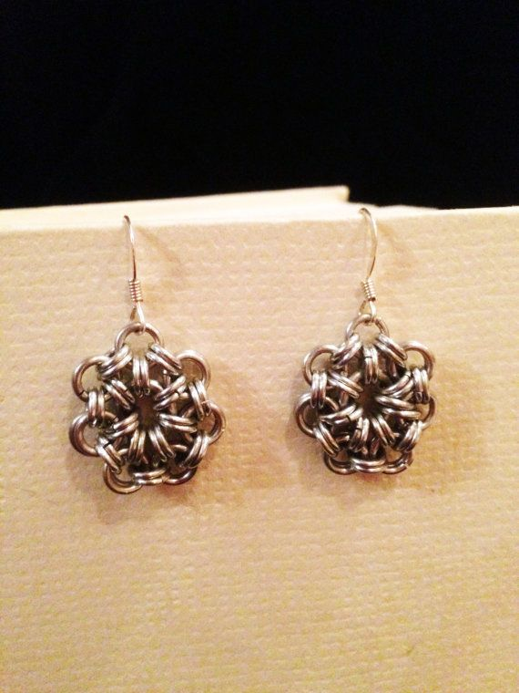 Japanese Snowflake Chainmaille Earrings