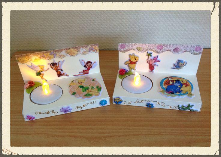 Waxinelicht houders in Disney style, https://www.facebook.com/pages/Rias-Traktaties/462934343744671 Www.traktatie.simsite.nl