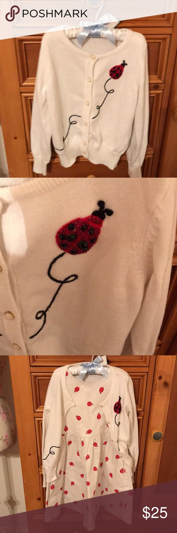 Beaded ladybug cardigan - Kate Spade New York Beaded ladybug children's cardigan from Kate Spade New York.  White with red and black beading children's size 5.  Will consider bundle with girls ladybug dress size 6. kate spade Other