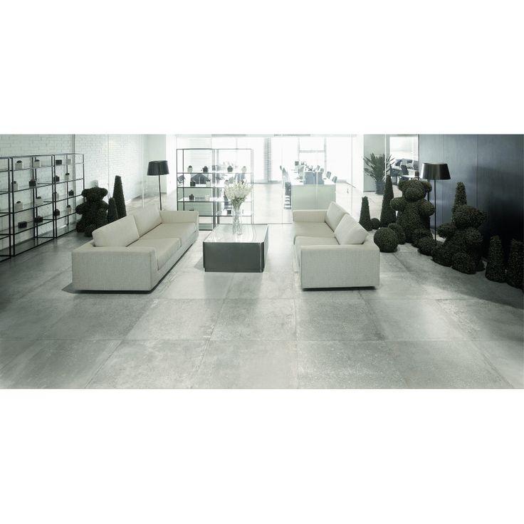 Carrelage intérieur extérieur effet pierre béton 60x60 Grigio Naturel, collection Patchwalk ASCOT