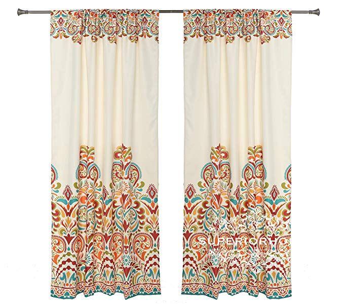 Set Of 2 Rod Pocket Brocade Print Curtains Beige Red Orange Blue