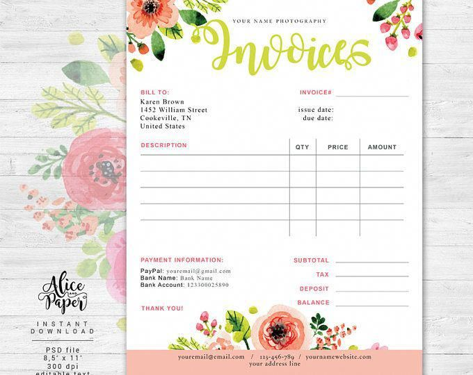 Invoice Template Photography Invoice Business Invoice Photography Forms Receipt Template Photography Invoice Photography Invoice Template Invoice Template