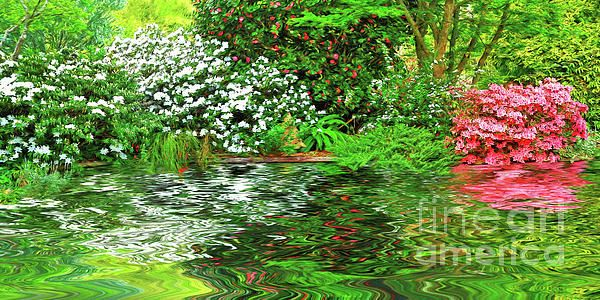 Photograph of a pretty spring garden around a #pond with some digital painting. The pink and white #azaleas and bright green leaves are #reflecting in the #water creating a scene of #color and #tranquility. #Painted #Spring #Garden by #Kaye_Menner #Photography Quality Prints Cards Products at: https://kaye-menner.pixels.com/featured/painted-spring-garden-by-kaye-menner-kaye-menner.html