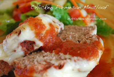 Chicken Parmesan Meatloaf - great for the freezer!!!Meatloaf Recipe, Kitchens Escapades, Maine Dishes, Chicken Parmesan Meatloaf, Beef, Freezers Meals, Ground Chicken, Food Swap, Freezers Food
