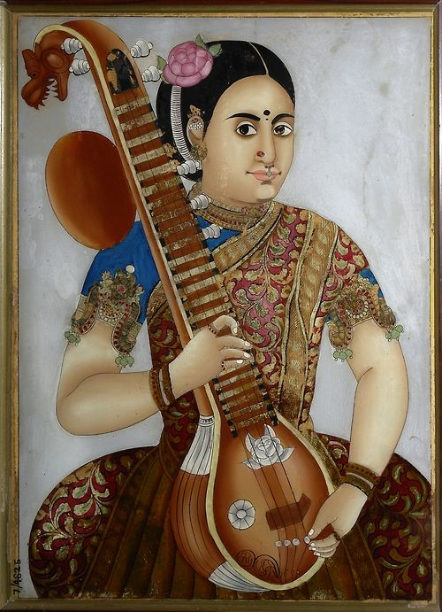 Ornament -1  Armband or Bazuband or Vanki Sweet that the rose motif recurs on the sitar. The painting is a Thanjavur painting
