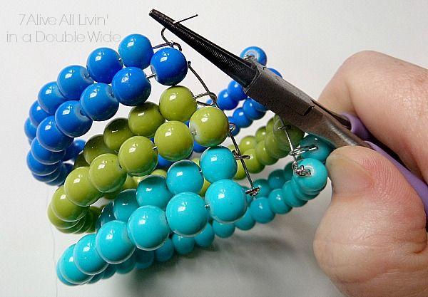 Memory Wire Beaded Cuff Bracelet - Seven Alive