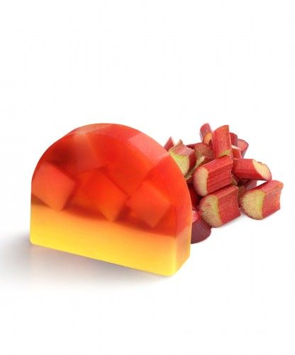 Rhubarb Crumble creative soap  A delicious, sweet rhubarb fragrance with sharp fruity notes  and soft jasmine floral heart leading to a base of vanilla and musk.  An eye-catching combination of yellow soap cubes in a red soap base. This is a real nostalgic moment remembering us to grandmothers  time.