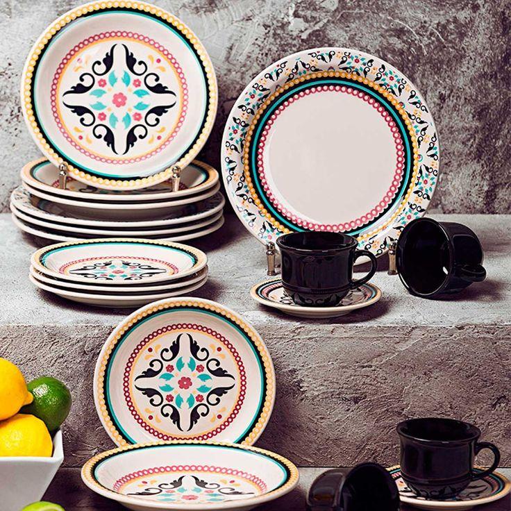 Aparelho de Jantar Chá Café 30 peças - Oxford Luiza - Havan