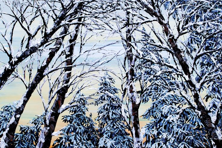 Looking Up Winter  - original painting by Maya Eventov at Crescent Hill Gallery