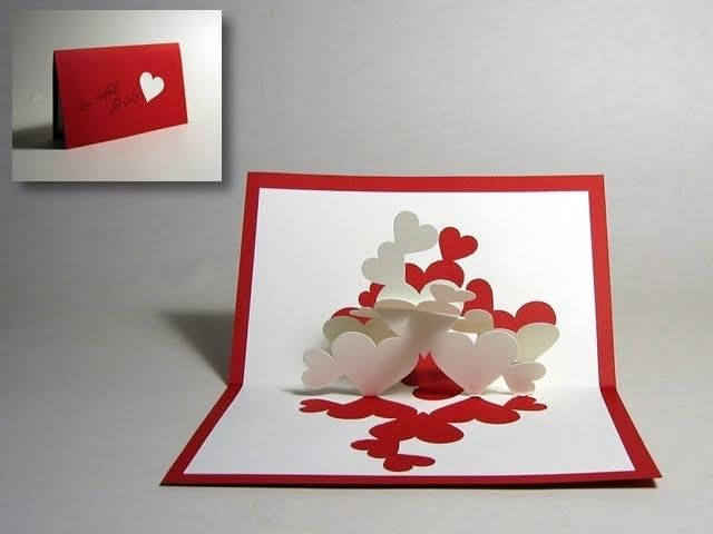 Diy Pop Up Valentine Card Hearts Pop Up Card Step By Step With Wedding Card Valentine Cards Handmade Cards Handmade Valentine Day Cards