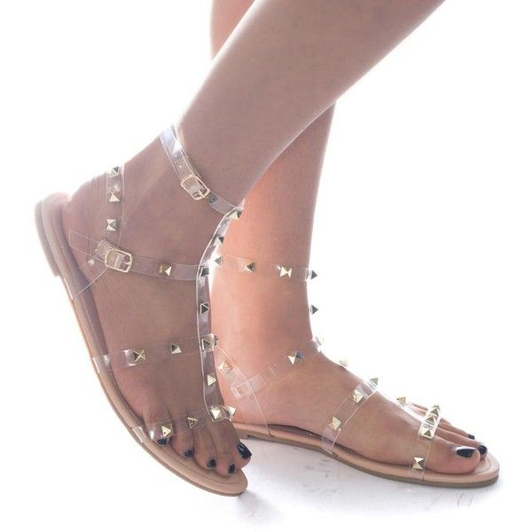 890d0d869 Aurora248 by Liliana Gilded Pyramid Stud Jelly Clear Lucite Gladiator...  ( 23)