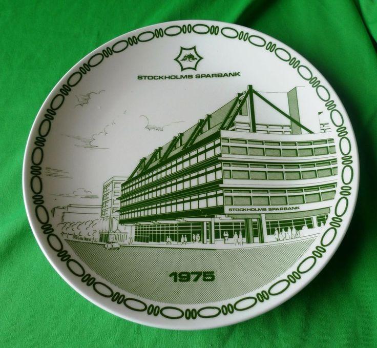 Sweden Vintage pottery GUSTAVSBERG Green White PLATE STOCKHOLMS SPARBANK 1975