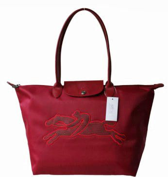 Longchamp Victoire Planetes Tote Bags Red