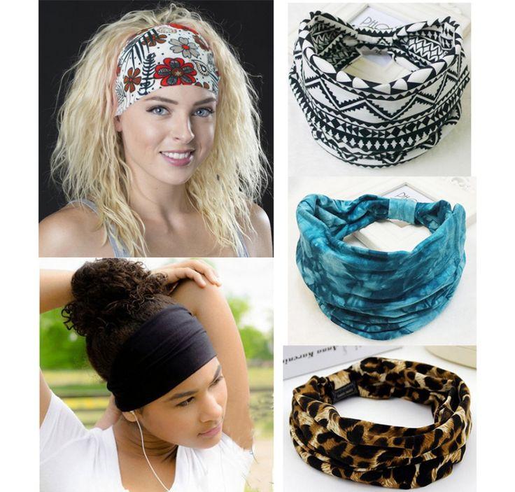 Bohemia BOHO Wide Cotton Stretch Sports Women Headbands Headpiece Headwrap Turban Headwear Bandage Hair Bands Bandana Fascinator