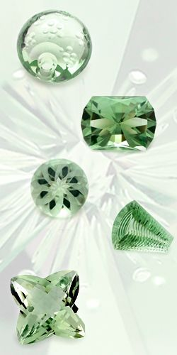 Green quartz (Prasiolite) - a rare stone in nature. The third stone down is kind of awesome!