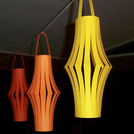 Construction paper lanterns.
