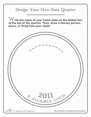 Fourth Grade Coloring History Worksheets: Design a State Quarter