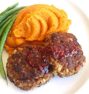 Rissoles with sweet potato mash. Slightly different take on rissoles. Julie has lots of great recipes on her site.