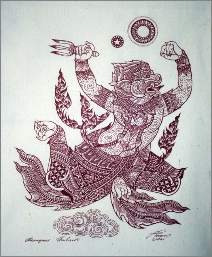Thai traditional art of Hanuman by silkscreen by AmornGallery