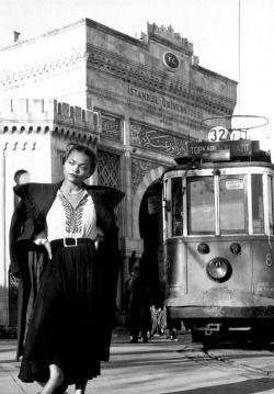 Eartha Kitt photographed in front of Istanbul University, Turkey ~ 1949
