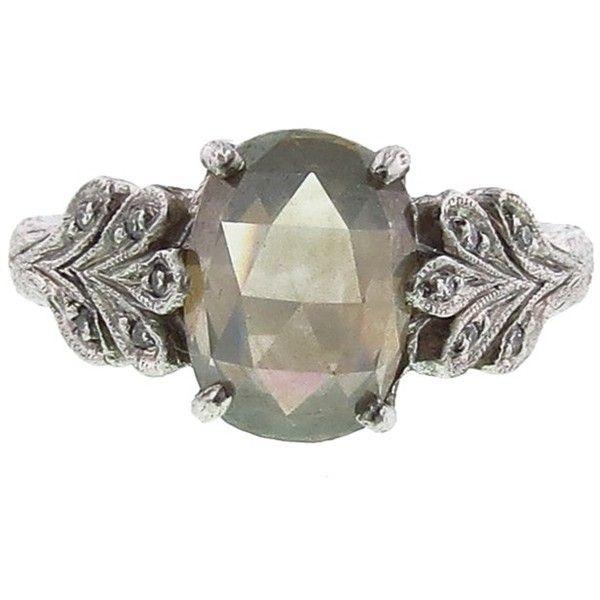 Cathy Waterman Rose Cut Grey Moghul Oak Leaf Ring ($17,430) found on Polyvore