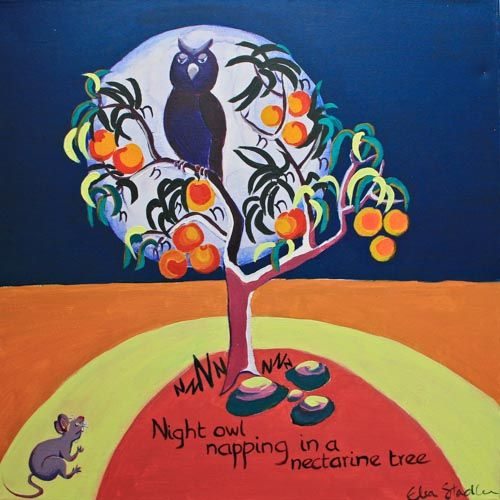 N is for Night Owl....'Night Owl napping in a nectarine tree'