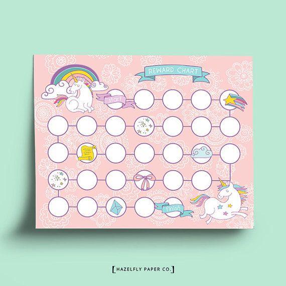 Printable Reward Chart Pink Unicorn Printable by HazelflyPaperCo