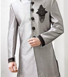 Buy Grey Brocade Zari Thread Zardosi sherwani indo-western-dress online