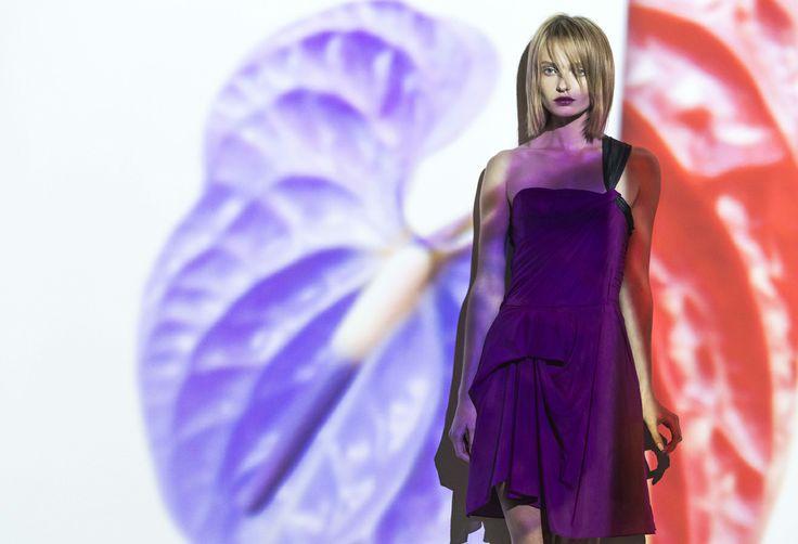 magenta silk crepe de chine peony dress. www.biancaspender.com