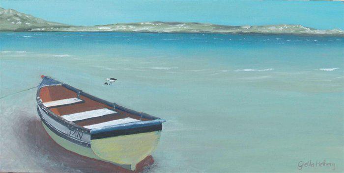 Langebaan Lagoon by Gretha Helberg / painting of a dinghy / nautical /