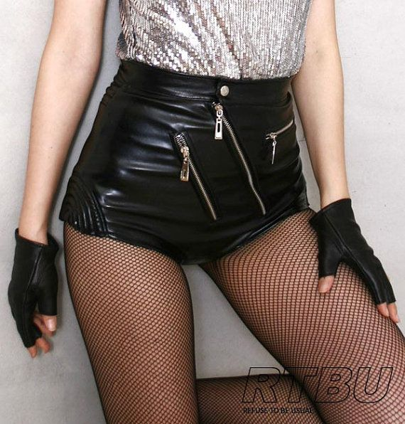 80's Glam Punk Rock Disco Dance High Waist Hot Leather Shorts Vegan Black Pin Up on Etsy, $51.17 CAD