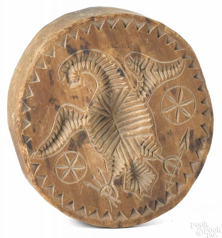 Carved pine eagle butter stamp - Price Estimate: $400 - $800