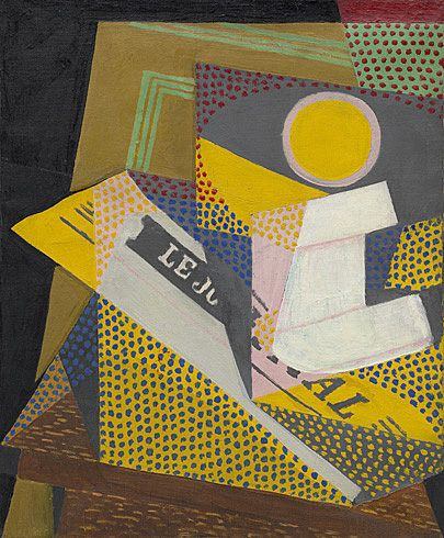 Collection Online | Juan Gris. Newspaper and Fruit Dish (Journal et compotier). March 1916 - Guggenheim Museum