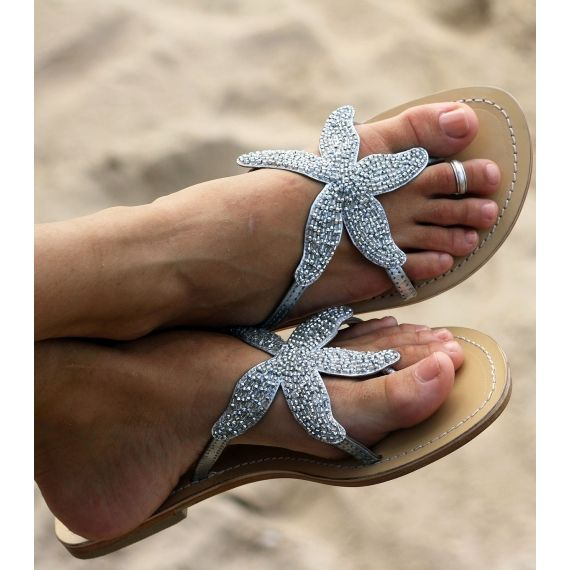Aspiga Starfish Silver Beaded Sandals
