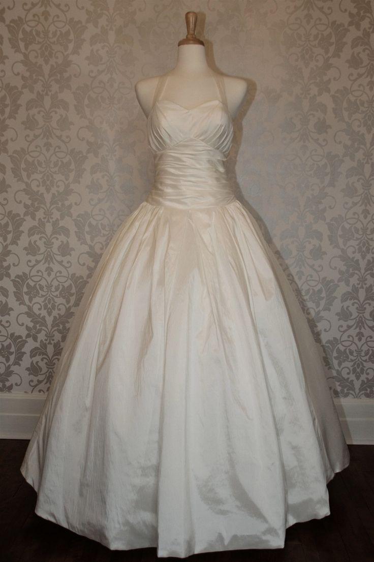 Halter neck empire waist ball gown wedding dress