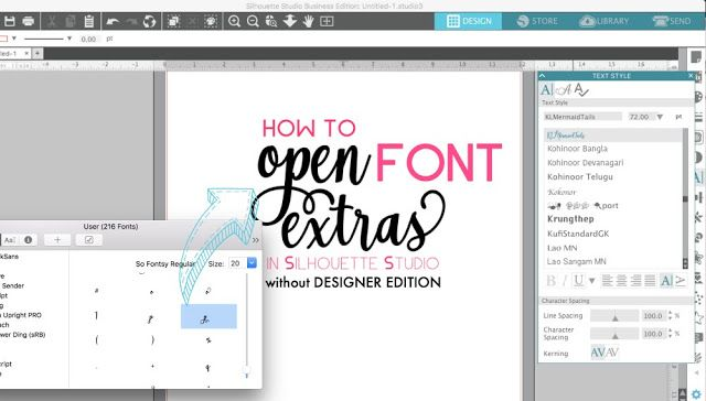Open Font Special Characters In Silhouette Studio V4 Without Designer Edition Silhouette Cameo Fonts Silhouette Fonts Silhouette Design Studio