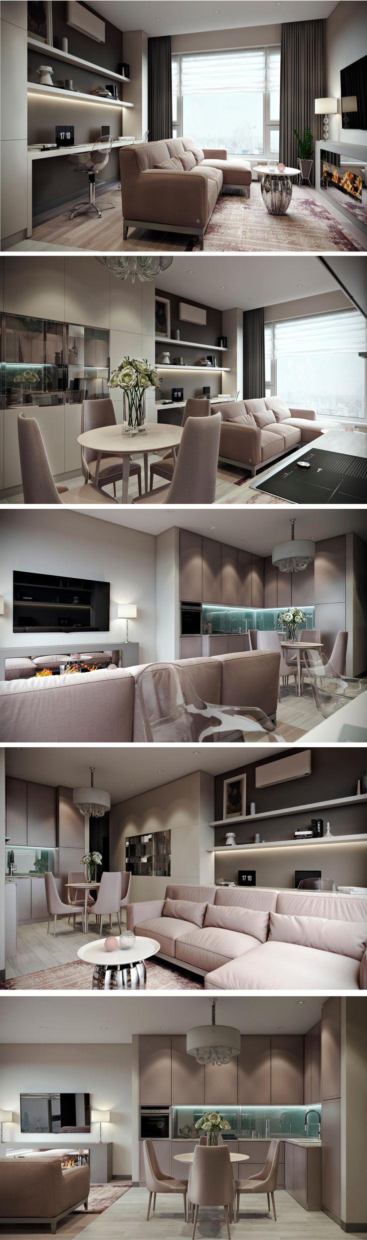 Modern American Style Living Room And Kitchen By Olga Osadchaya Interior Design Course Student In European School Kiev Ukraine
