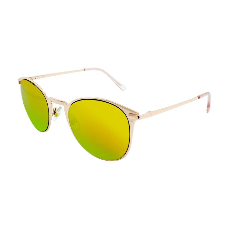 Women's Round Sunglasses with Yellow Mirror Lenses - Gold, Gold Shimmer