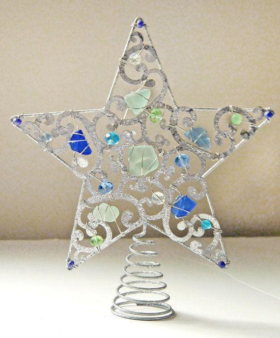 Sea Glass Star Tree Topper In Colors Of The Sea Sea Glass