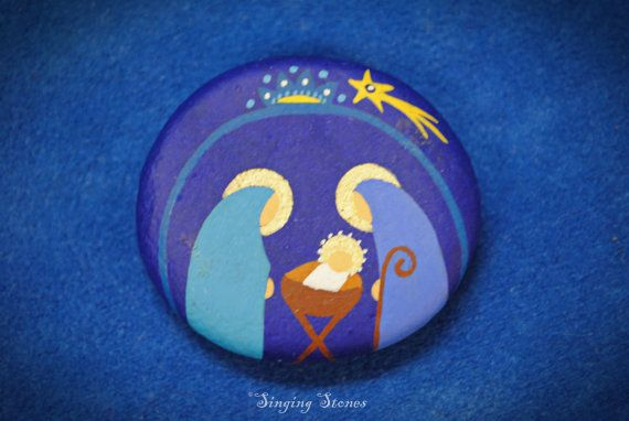 Painted stone with magnet Holy family
