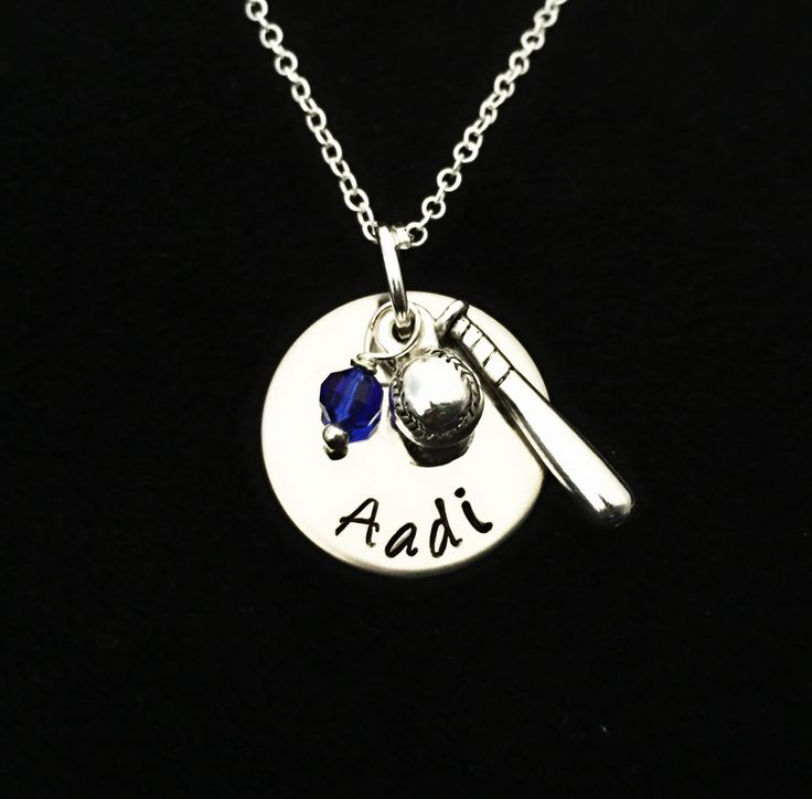 Baseball Jewelry - Baseball Necklace - Personalized Player Name - School Team Colors - Church League -MLB-T-Ball -Sports Mom Necklace by sonudesigns on Etsy