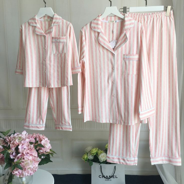 Matching Mother Daughter Father Son Family Pajamas Children pajamas for girl Cotton Striped nightgown Kids Sleepwear Family Look