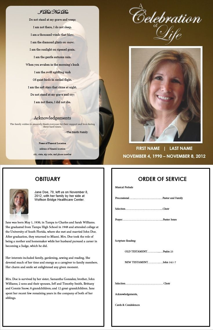 73 best images about Printable Funeral Program Templates on – Death Obituary Template
