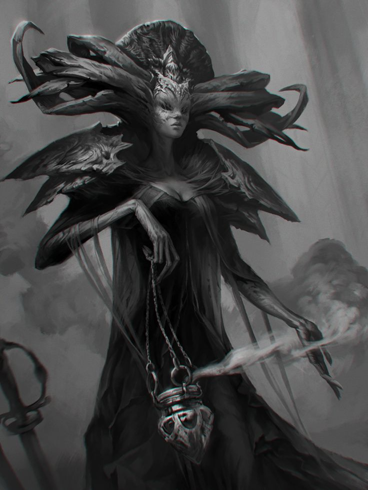 A by LeraStyajkina female demon devil god witch sorceress sorcerer wizard warlock undead dead litch king queen monster beast creature animal | Create your own roleplaying game material w/ RPG Bard: www.rpgbard.com | Writing inspiration for Dungeons and Dragons DND D&D Pathfinder PFRPG Warhammer 40k Star Wars Shadowrun Call of Cthulhu Lord of the Rings LoTR + d20 fantasy science fiction scifi horror design | Not Trusty Sword art: click artwork for source