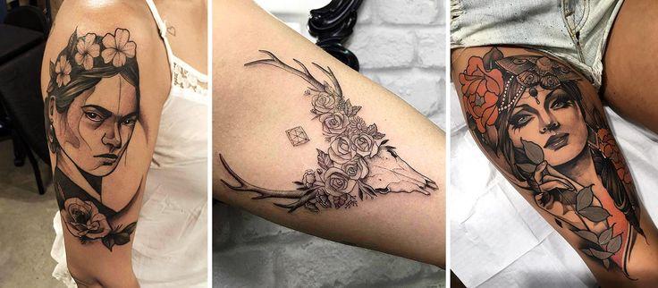 Em 2016 alguns artistas brasileiros se destacaram na cena da tatuagem. Selecionamos 21 deles. Nessa foto os trabalhos de Pedro Gomes, Sindy Brito e Artur Graziani. #tattoo #tatuagem #neotradicional #fineline #colorido