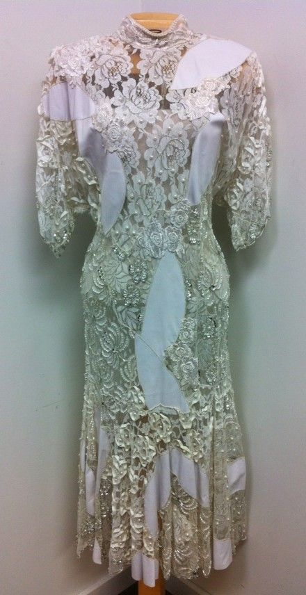 True vintage, extraordinary combination of fine lace and leather, with hand-worked, raised leather swirls and delicate beading - by Judith Ann Creations